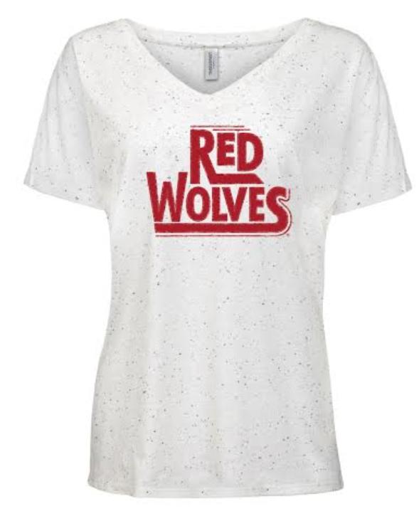Red Wolves Women's TriBlend Fleck V Neck SS Shirt