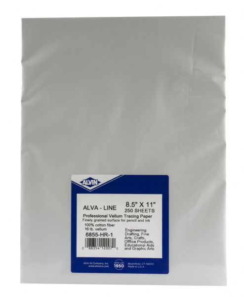 Alva-Line 100% Rag Vellum Tracing Paper 8.5in x 11in Unprinted Sheet Packs