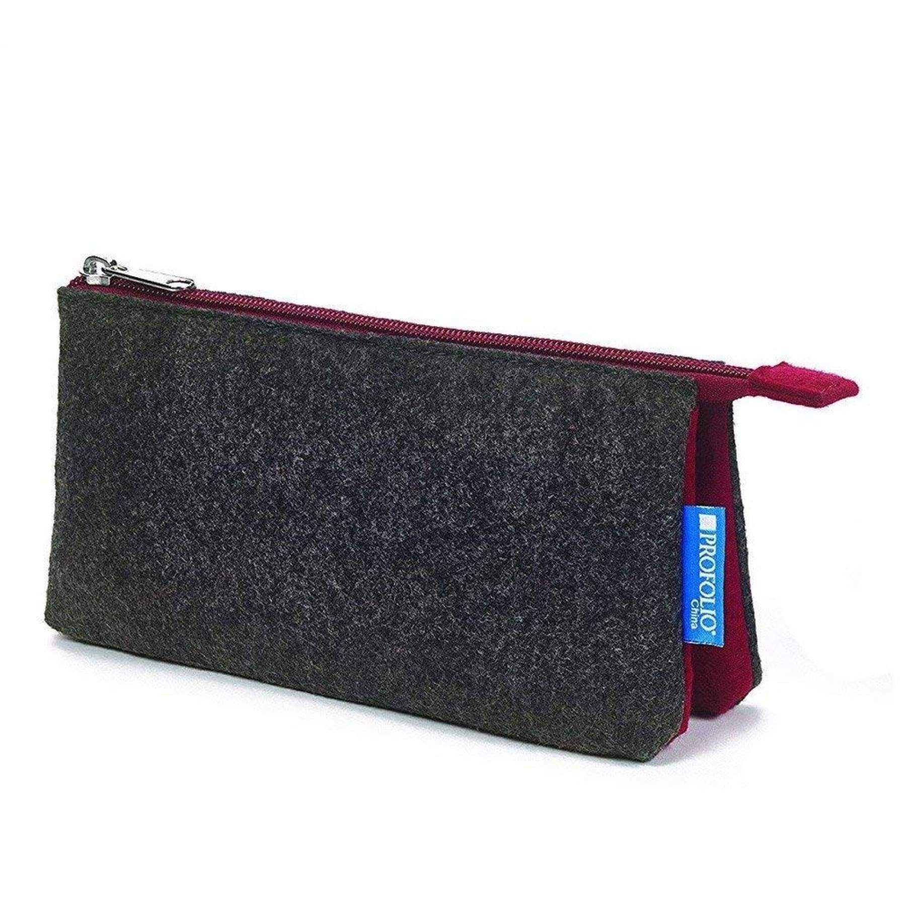 Midtown Felt Pouch Charcoal/Maroon 4x7