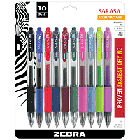 Sarasa Retractable Gel 10-Pen Set Assorted Colors