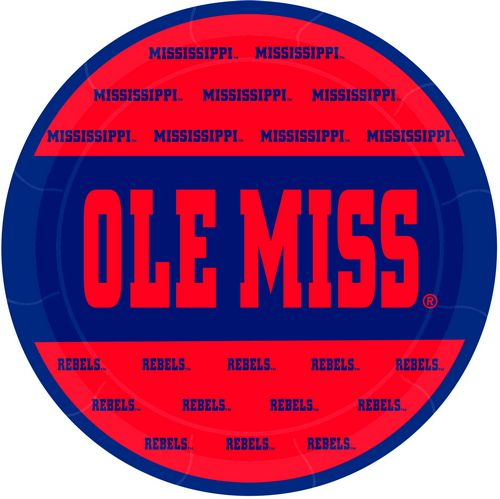 Ole Miss Stripe 9in Plates 8/pkg