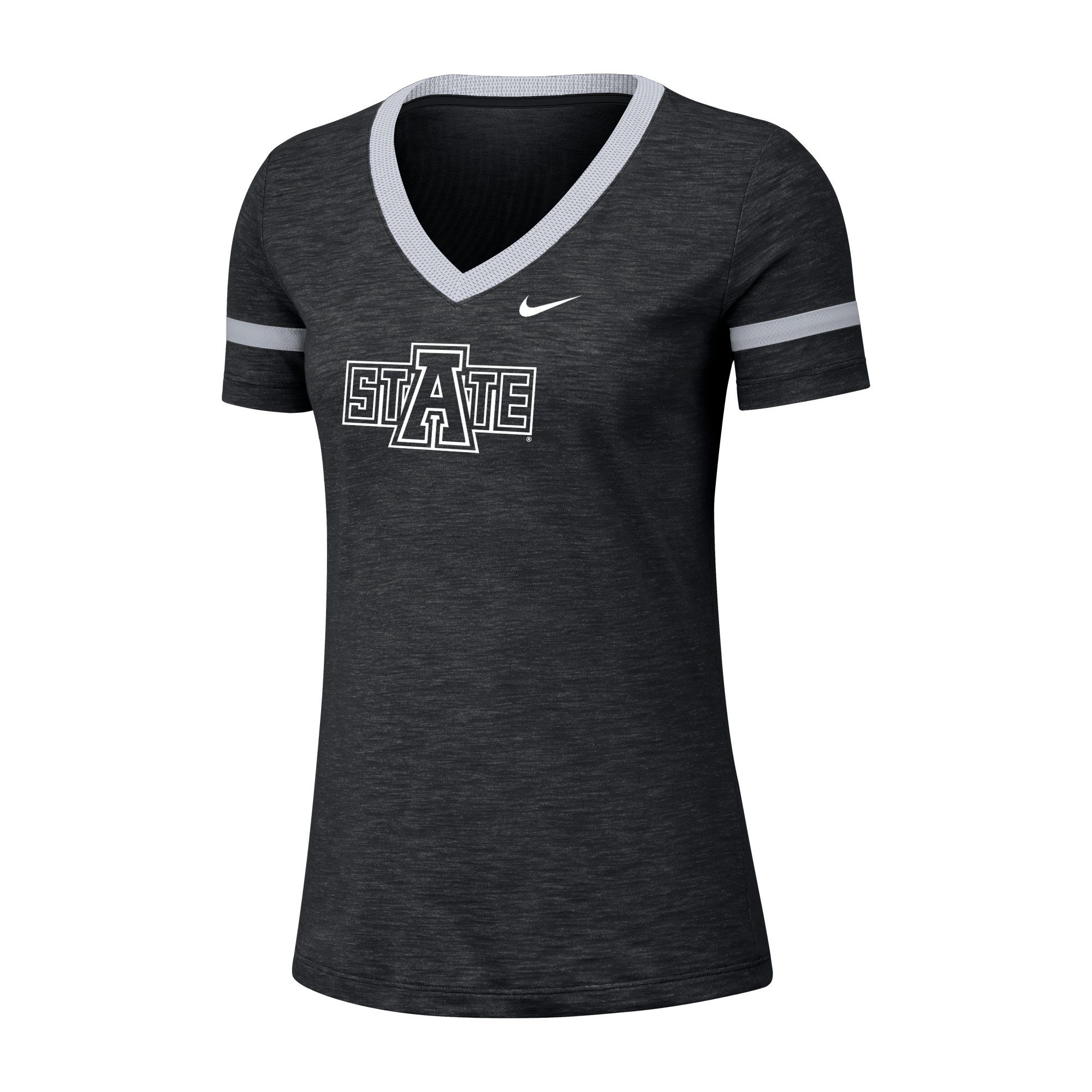 Arkansas State Womens DF Cotton Slub V-Neck Tee