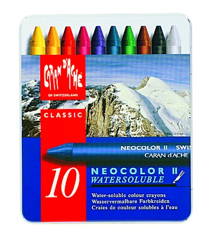 Neocolor II Water-Soluble Pastels, 10-Color Metal Box Set
