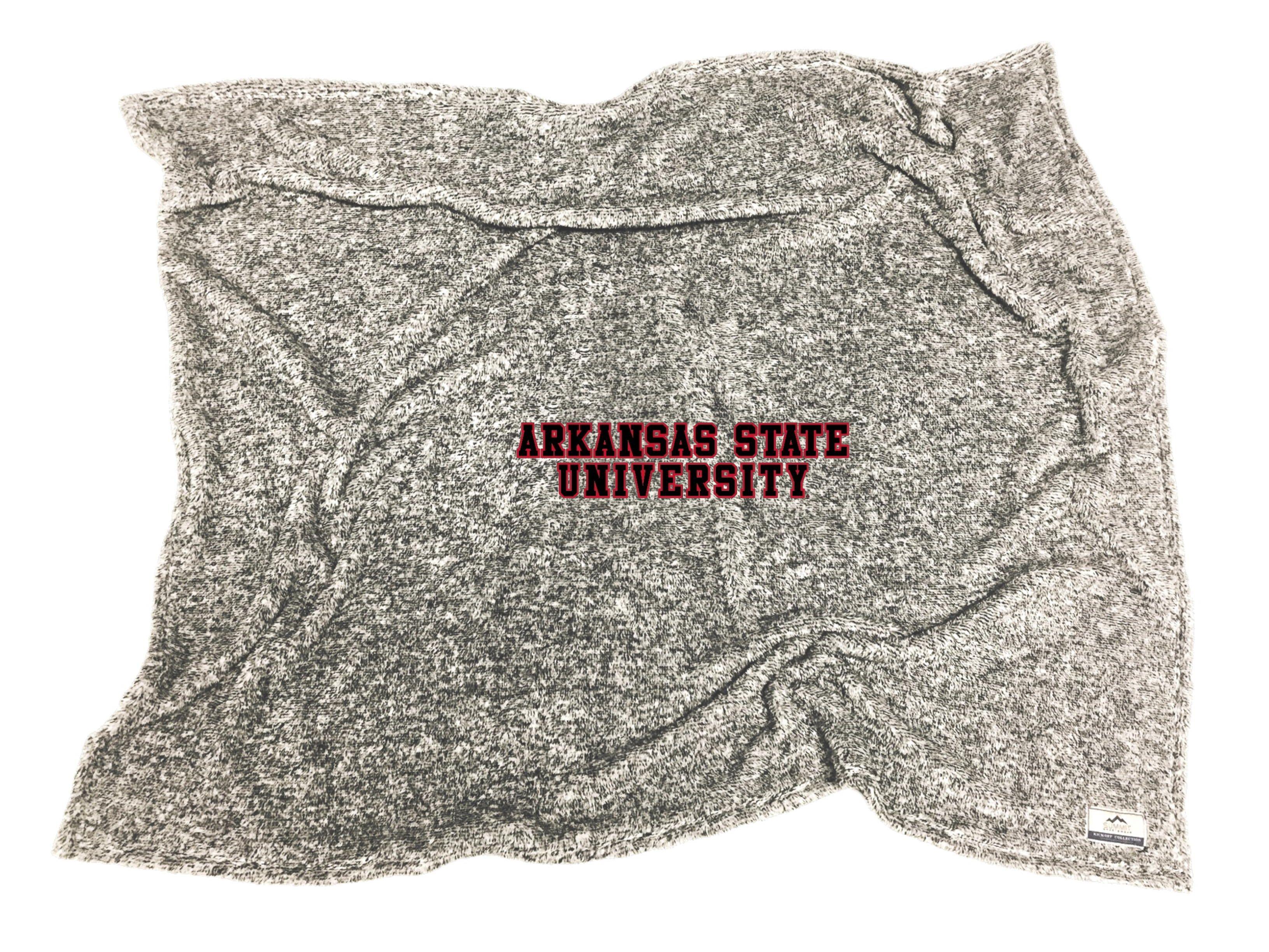Arkansas State University Flecked Double Plush Blanket