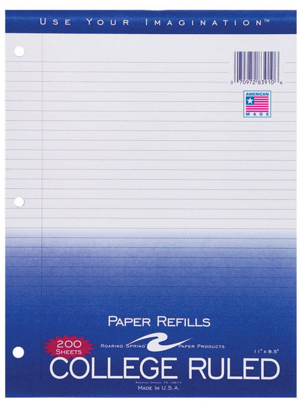200 Sheets - College Ruled Notebook Filler Paper