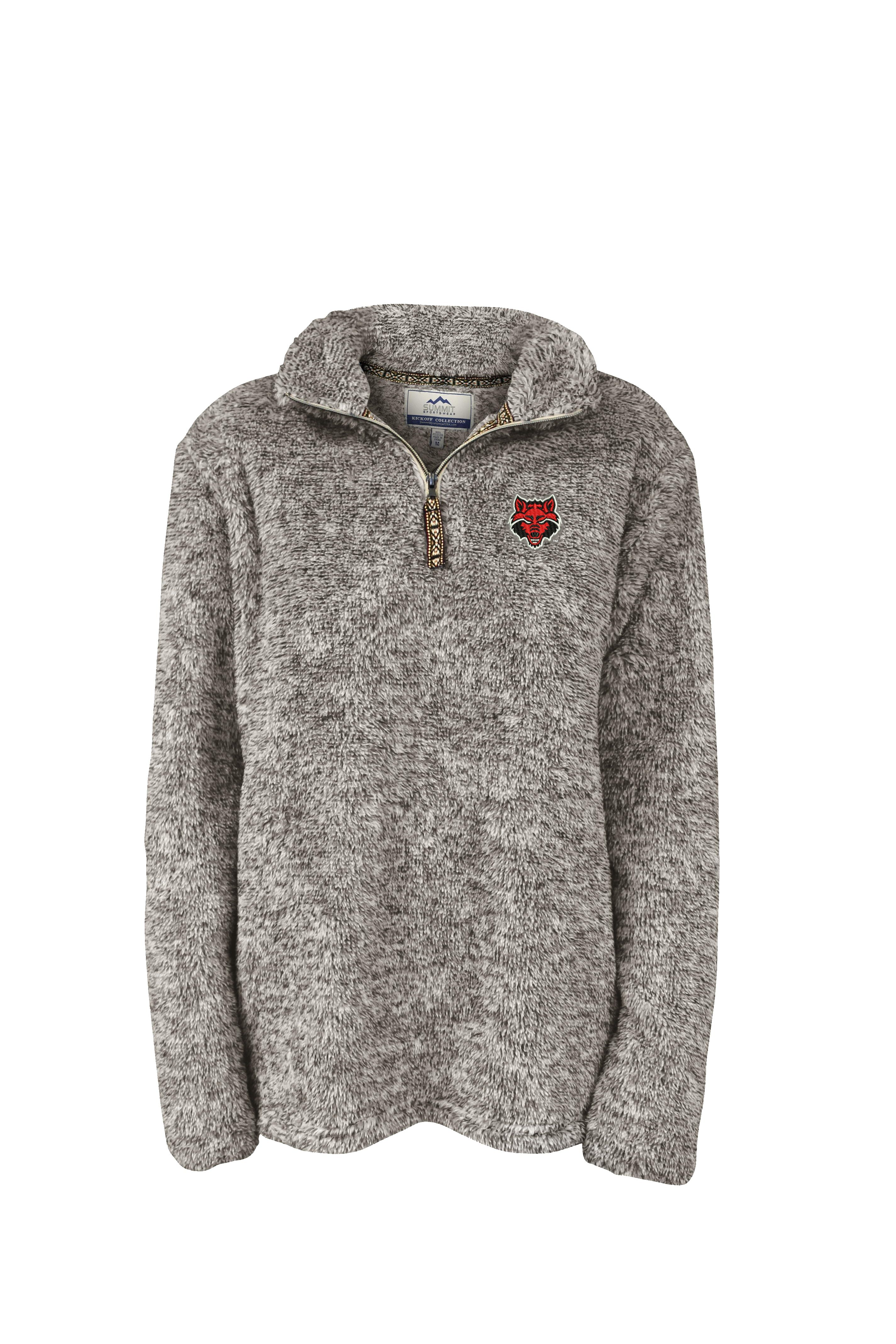Red Wolves Flecked Double Plush 1/4 Zip
