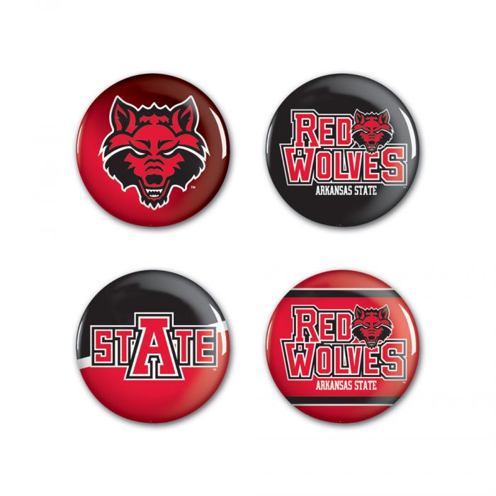 """Arkansas State Red Wolves Button - 4 Pack 1 1/4"""" Rnd"""
