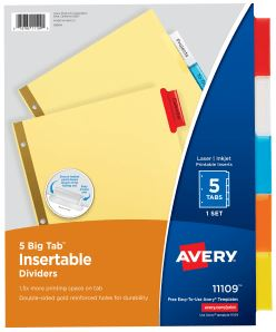 Colored 5 Tab Avery Divider Set