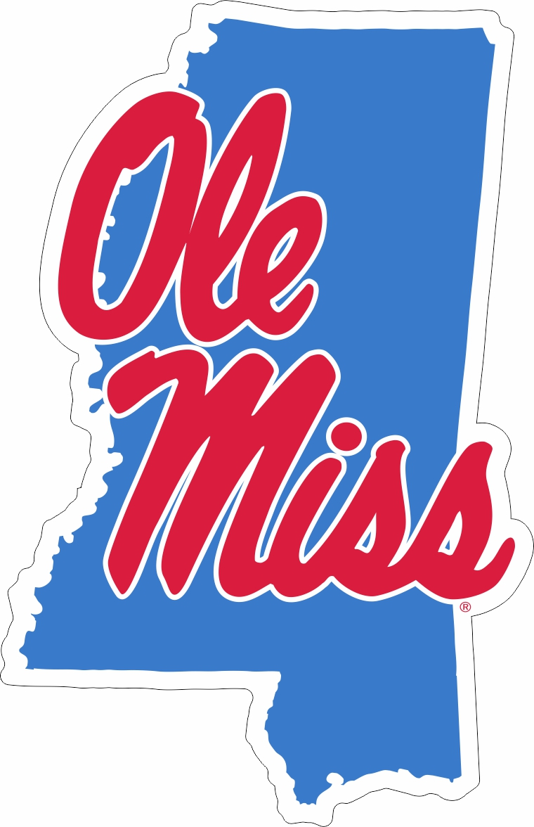 Light Blue Ole Miss State Decal