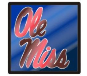 Mirrored Ole Miss Script Trailer Hitch