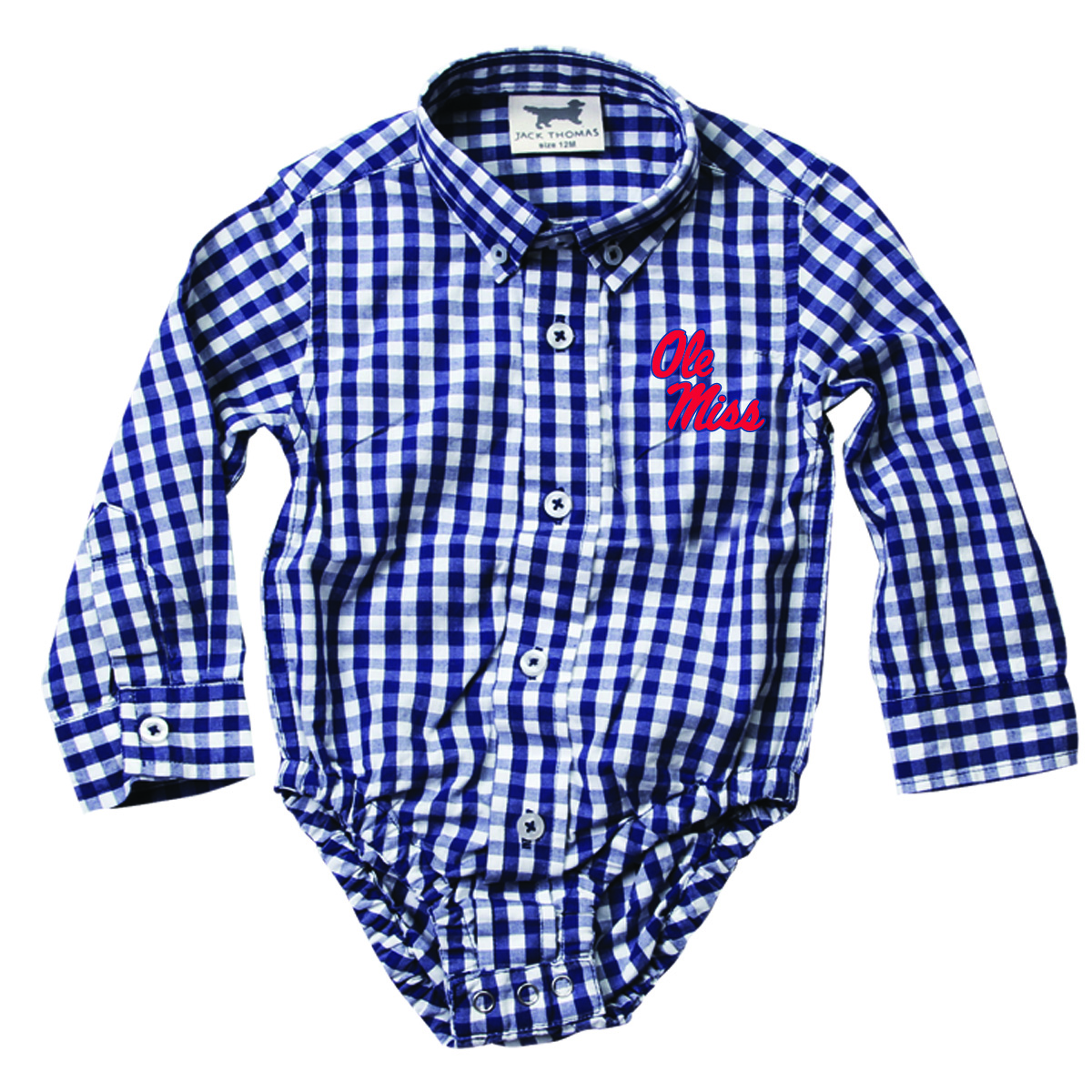 MSLS Embroidered Gingham Onesie Midnight 18M