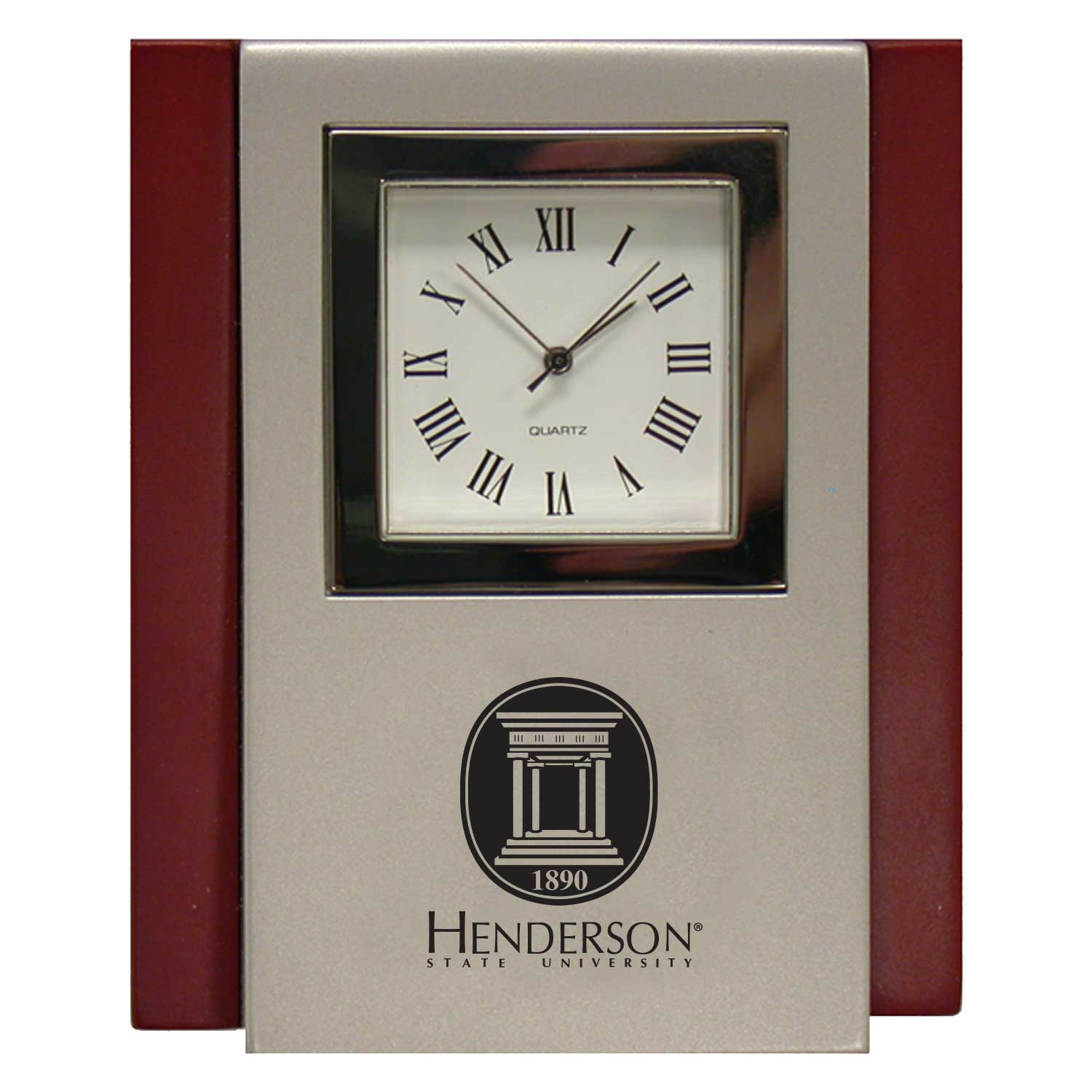 Henderson State University Wood/Metal Desk Clock Engraved