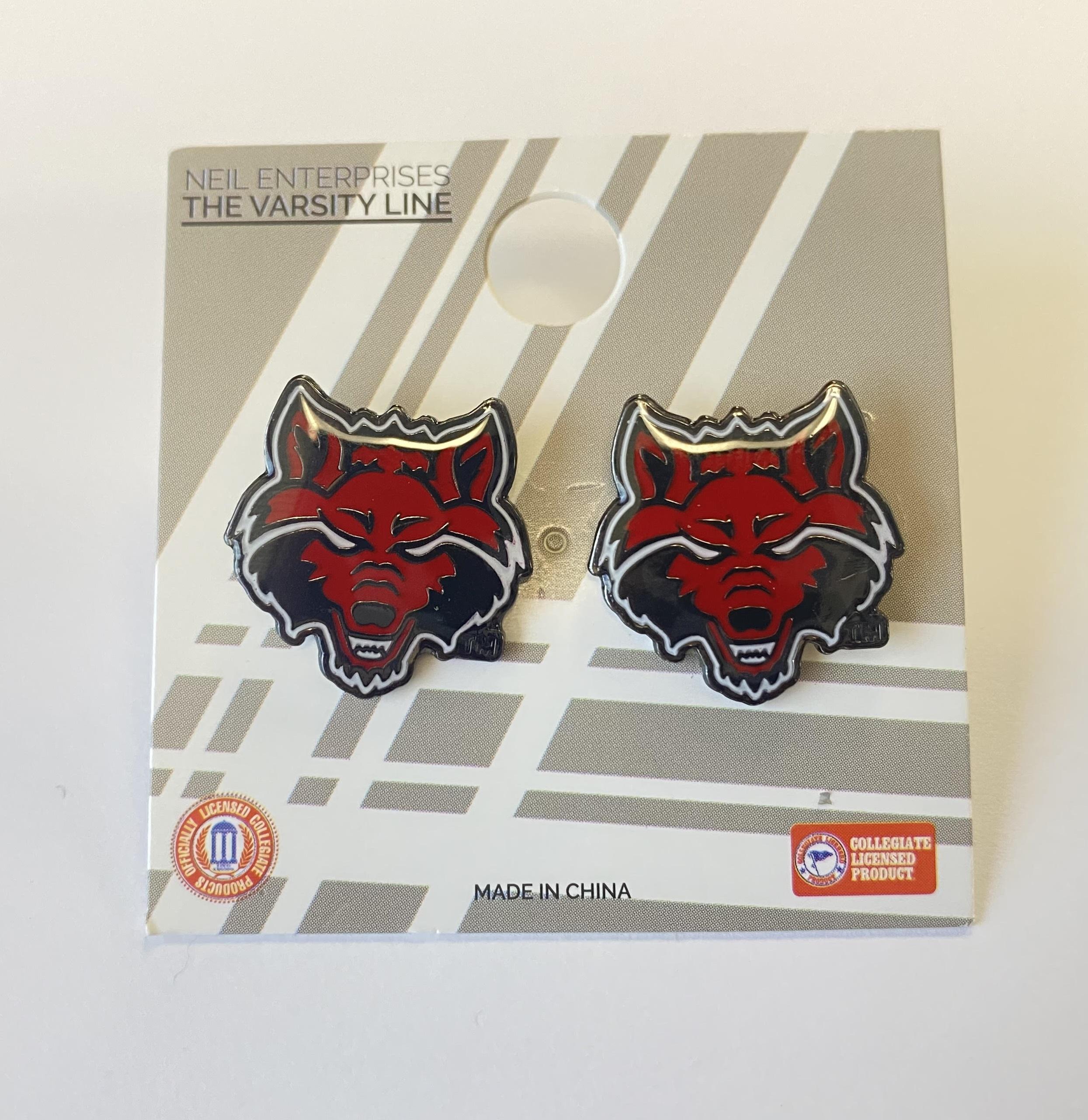 Red Wolves Post Earrings