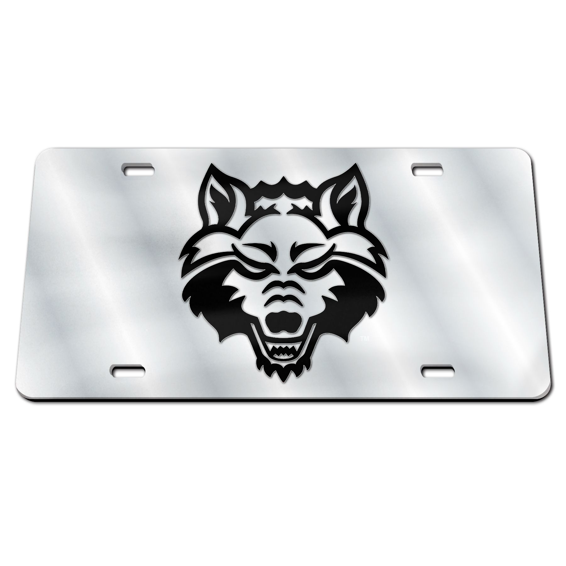 Red Wolves Mirrored Black & White Plate