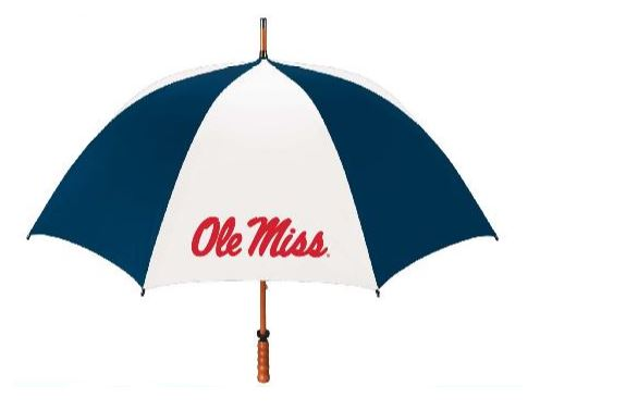 Navy and White Large Wood Shaft Umbrella