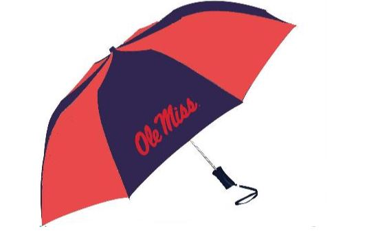 Navy and Red Automatic Folding Umbrella