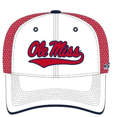 White Fitted Ole Miss Swoosh Cap Red Mesh