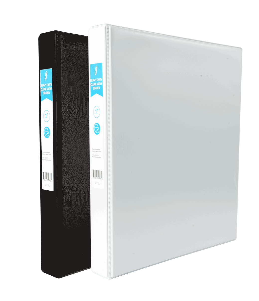 Heavy Duty Clear View D-Ring Binder 1in
