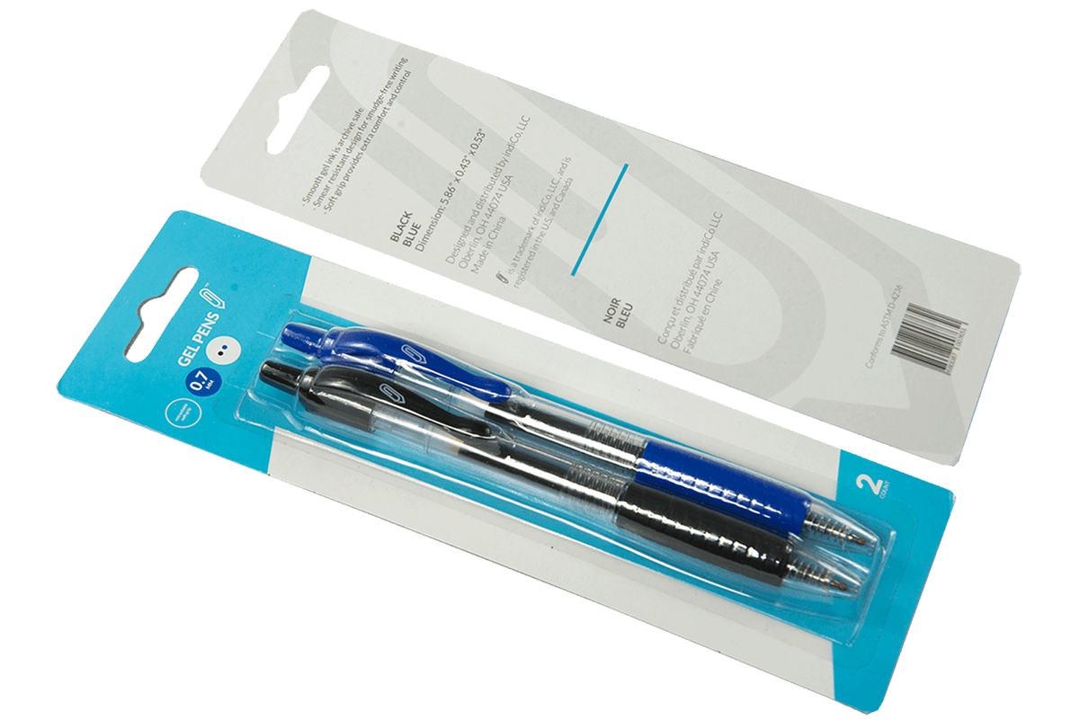 Blue and Black Retractable Gel Pens 2pk