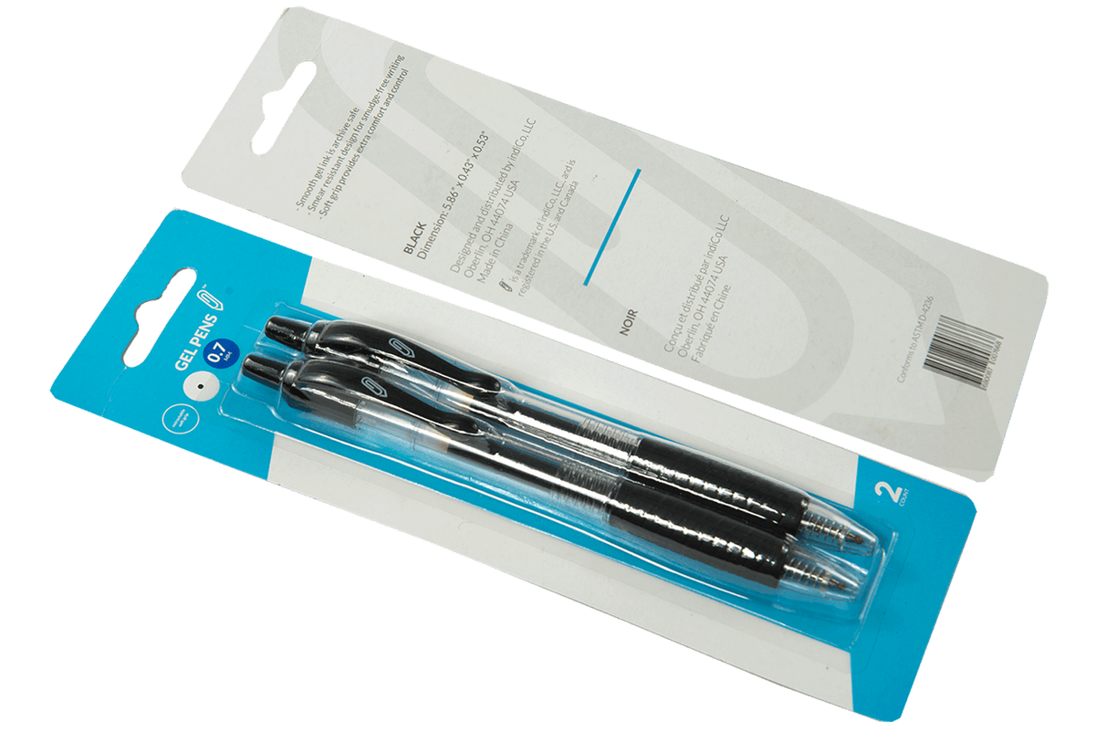 Black Retractable Gel Pens 2pk