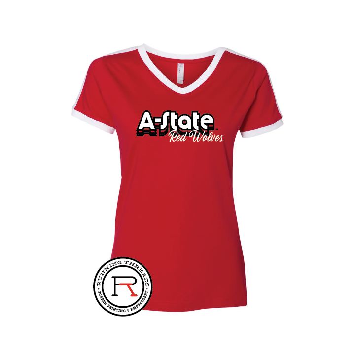 A-State Red Wolves Women's Retro Ringer Fine Jersey V- Neck Tee