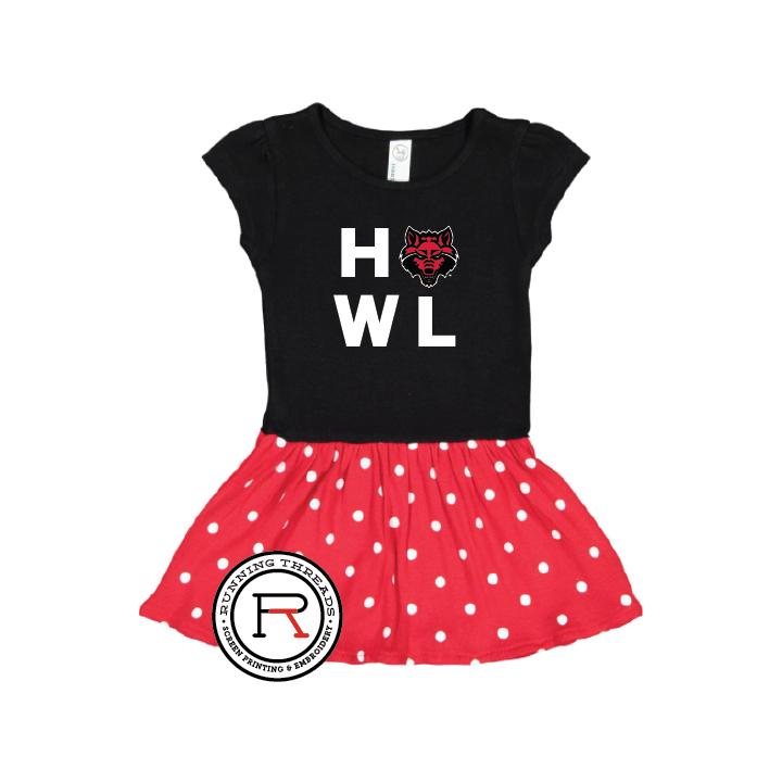 Red Wolves Howl Infant Baby Rib Dress
