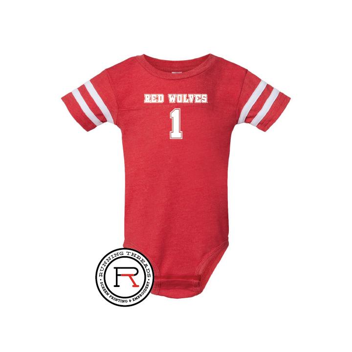 Red Wolves Infant Football Fine Jersey Bodysuit
