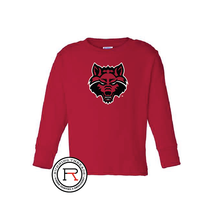 Red Wolves Toddler Long Sleeve Cotton Jersey Tee