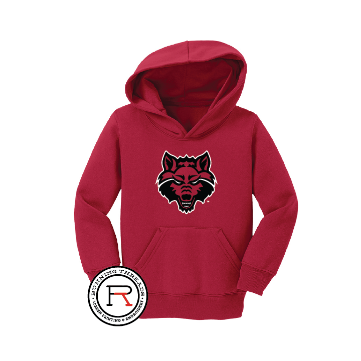 Red Wolves Toddler Core Fleece Pullover Hooded Sweatshirt
