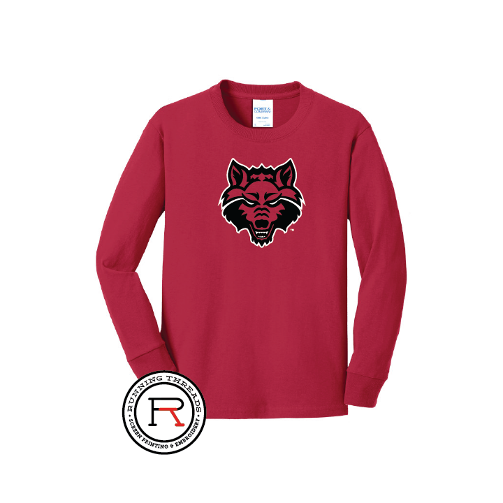Red Wolves Youth Long Sleeve Core Cotton Tee
