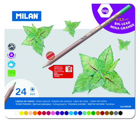 Milan Professional 3.3mm Colored Pencil Tin Set of 24