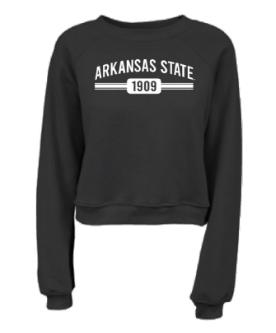 Arkansas State Cropped Raglan Crew Sweatshirt