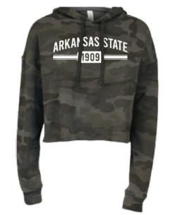 Arkansas State Camo Cropped Hooded Sweatshirt