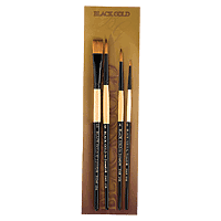 Black Gold Short Handle Round Brush Set of 4