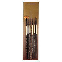 Black Gold Short Handle Fan Brush Set of 6
