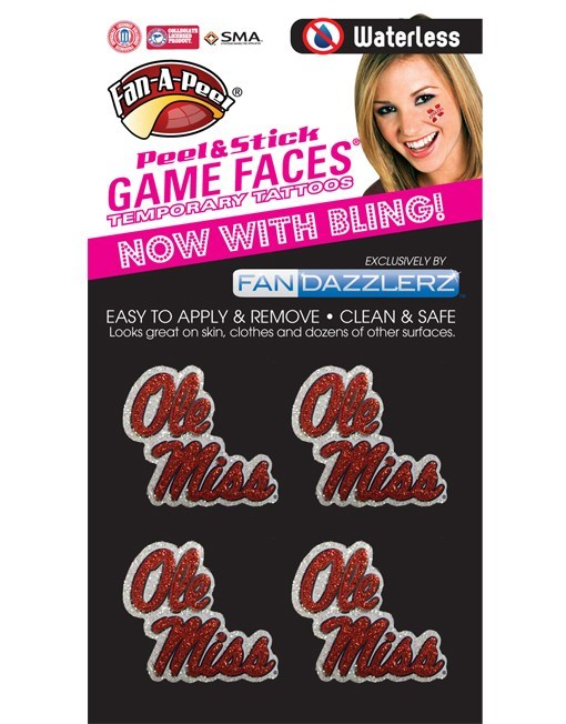 Waterless Dazzled Ole Miss Temporary Tattoos Set/4