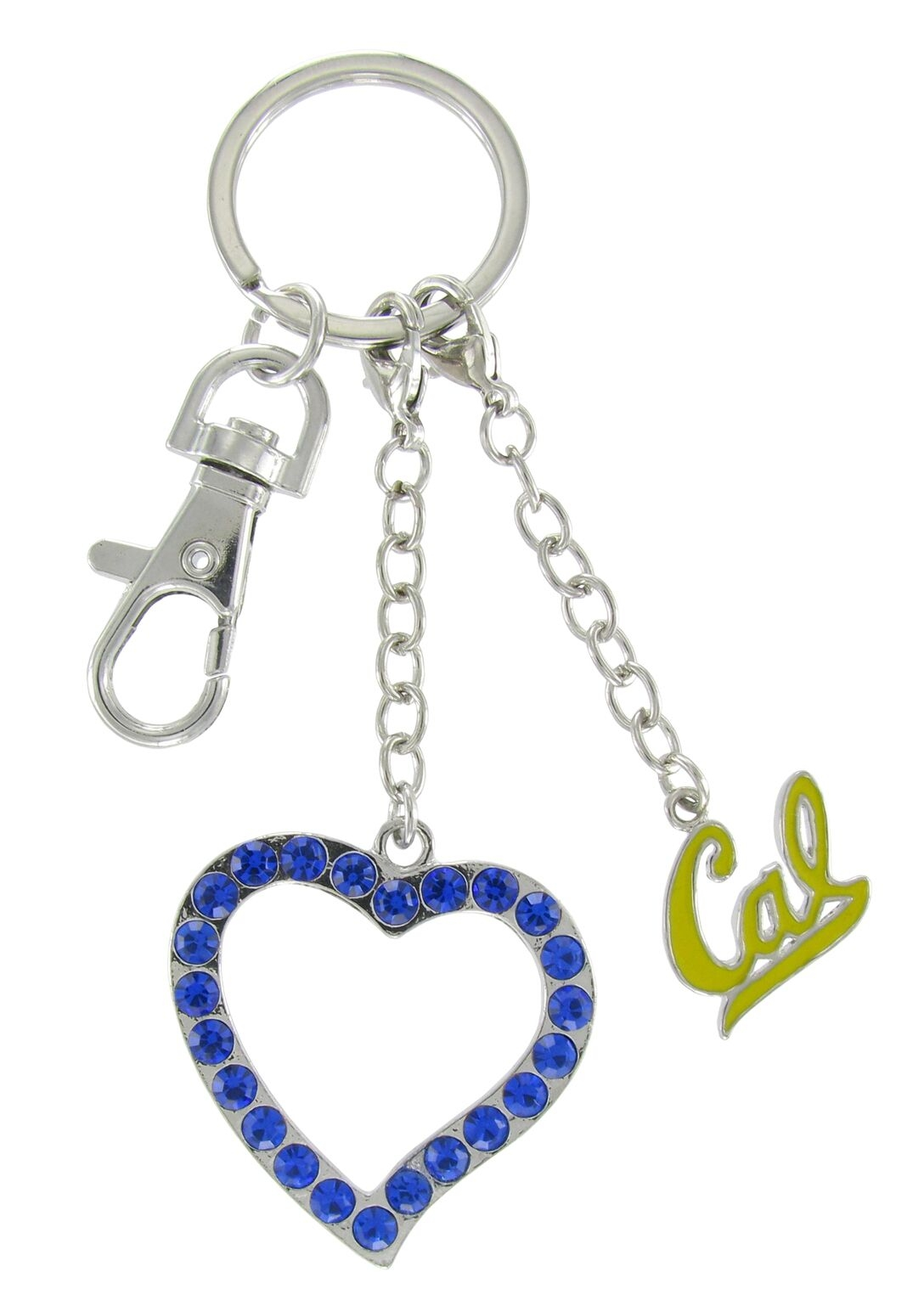 University of California Berkeley Gold Enamel Cal Love Combo Keychain with Royal Blue Heart
