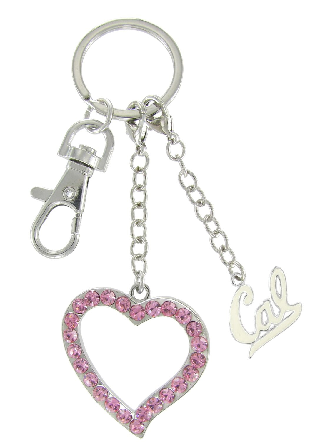 University of California Berkeley White Enamel Cal Love Keychain with Pink Heart