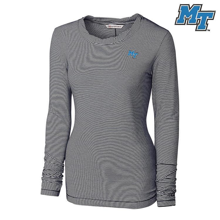 MT Logo Women's Stripe Knit Long Sleeve Shirt