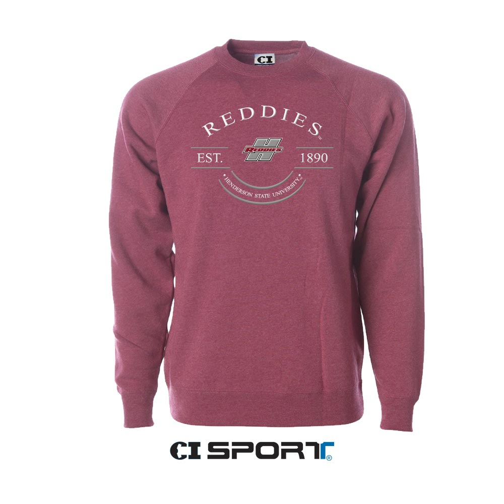 Reddies Est. 1890 Henderson State University Blended Raglan Crew Sweatshirt