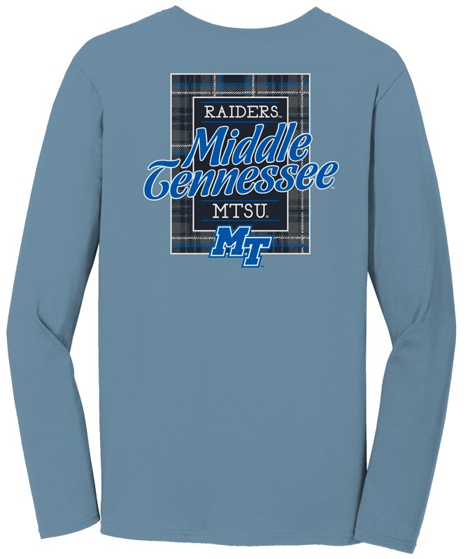 Blue Raiders Plaid Square Comfort Colors Long Sleeve Shirt