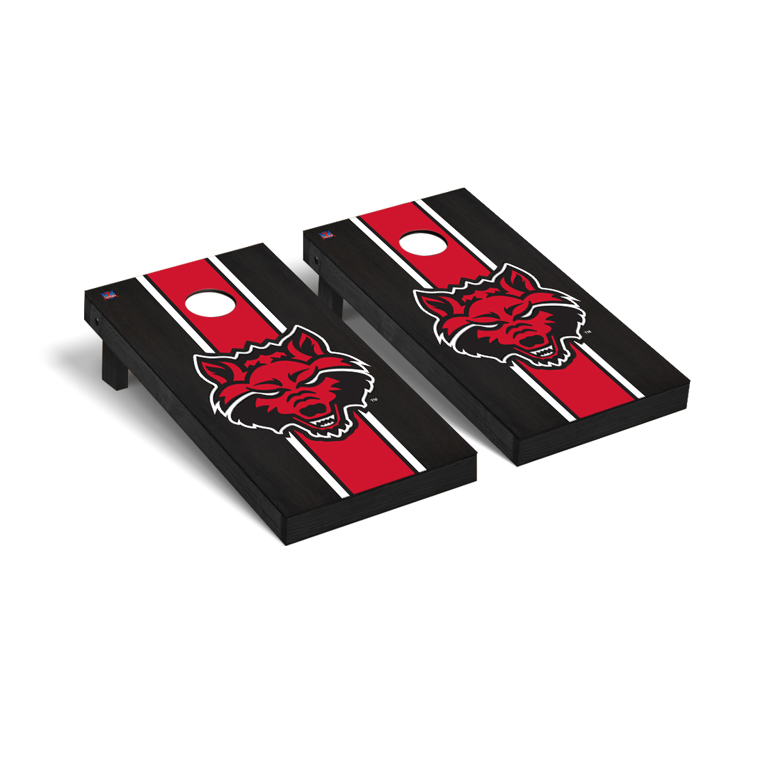 Red Wolves Regulation Cornhole Game Set Onyx Stained Striped Version