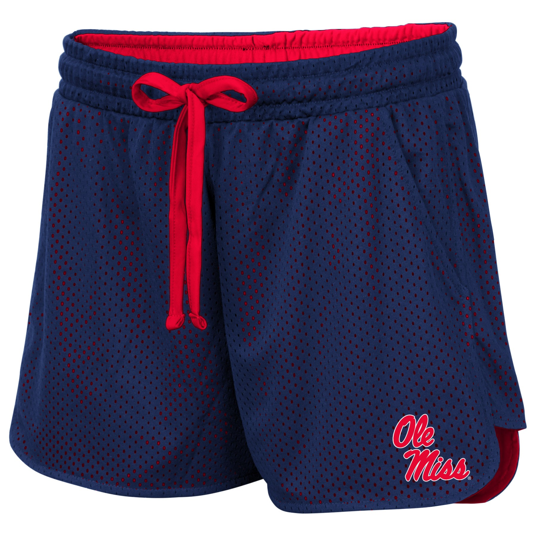 Colosseum Womens Navy and Red Mesh Athletic Shorts
