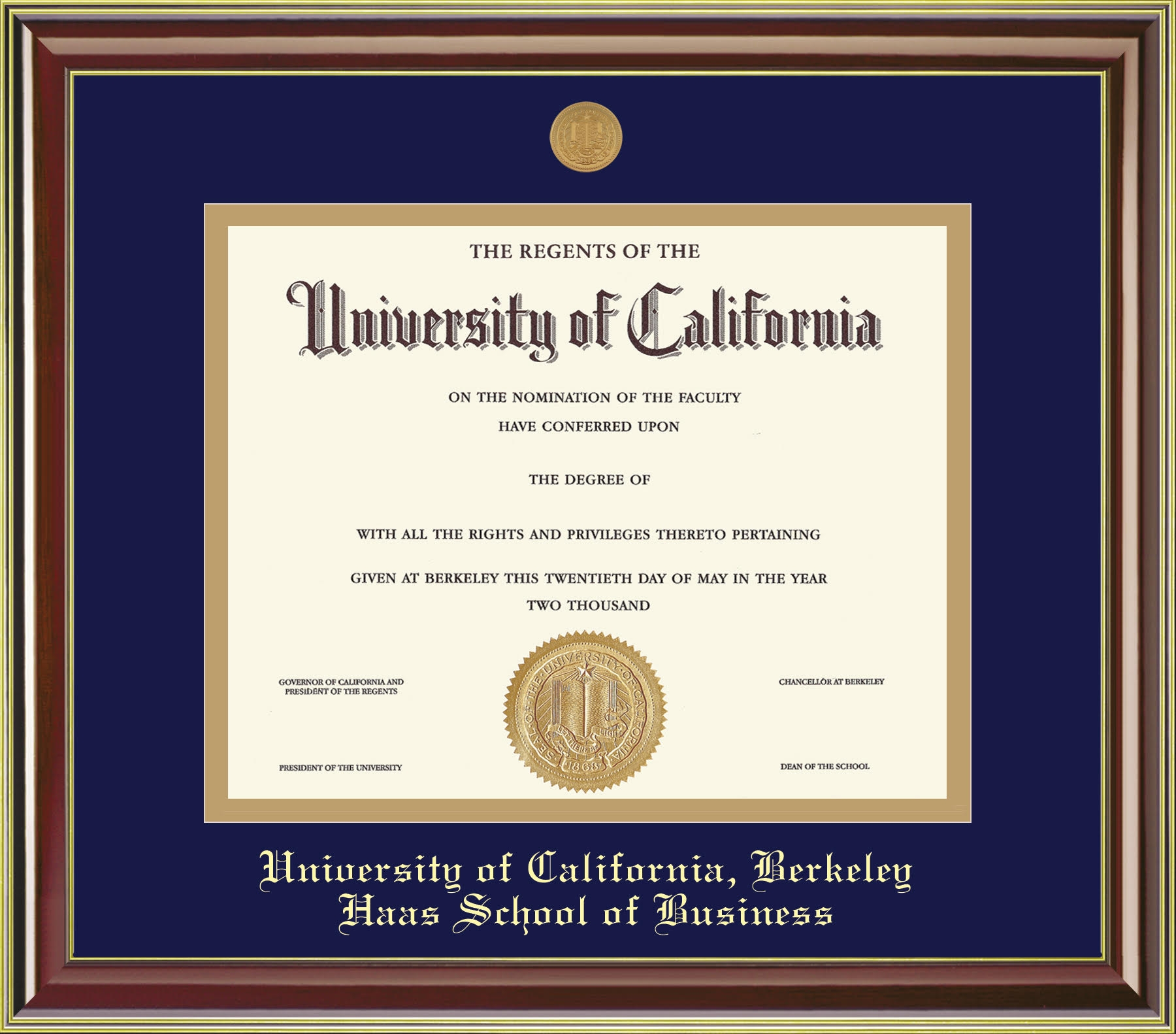 University of California Berkeley Mahogany Gold Haas School of Business Diploma Frame
