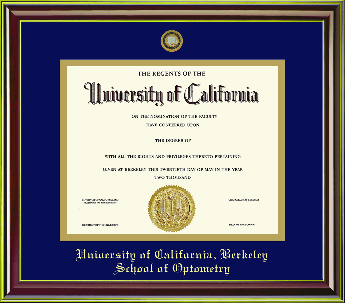 University of California Berkeley Mahogany Gold 11x14 School of Optometry Diploma Frame
