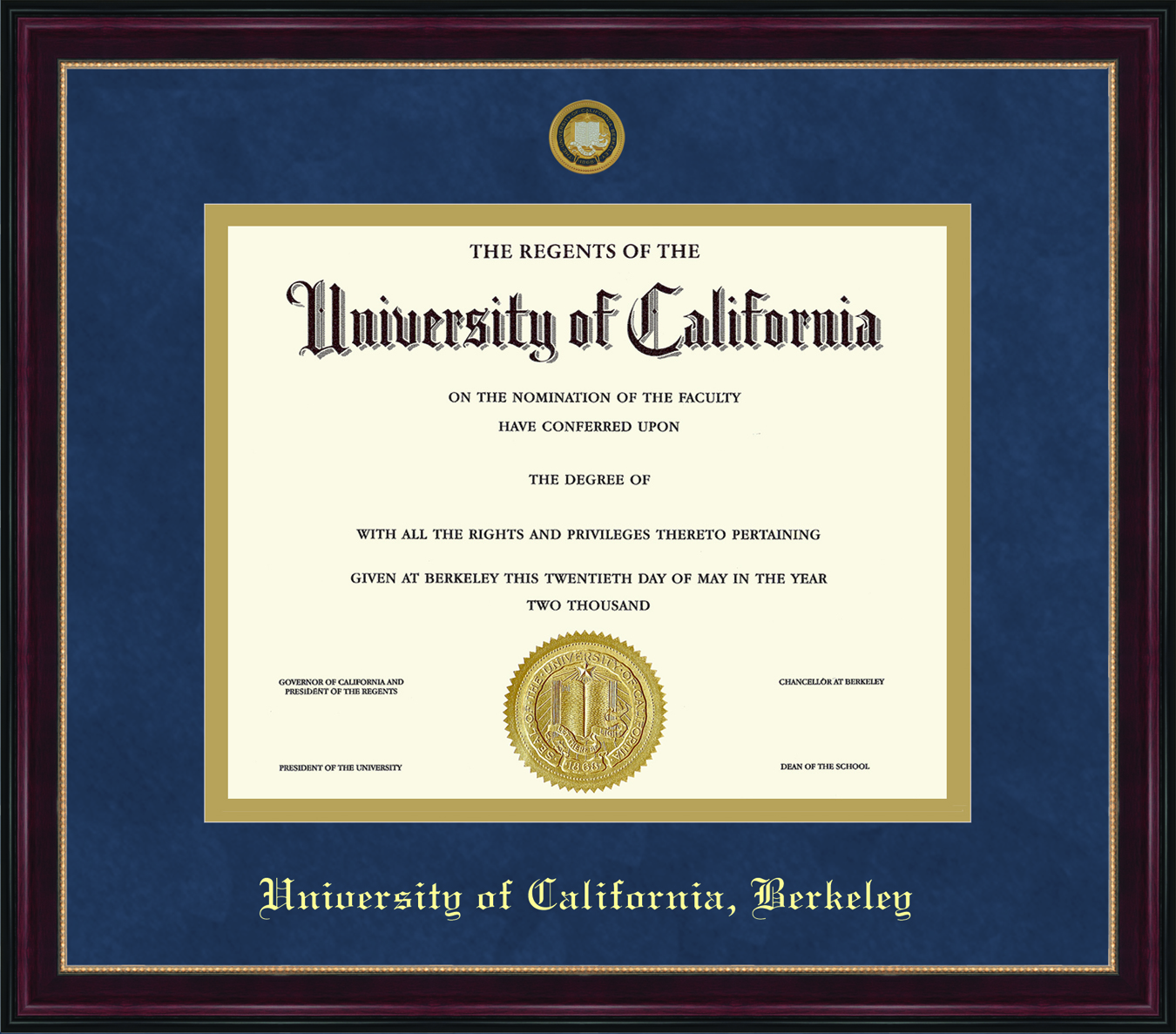 University of California Berkeley Sienna Diploma Frame