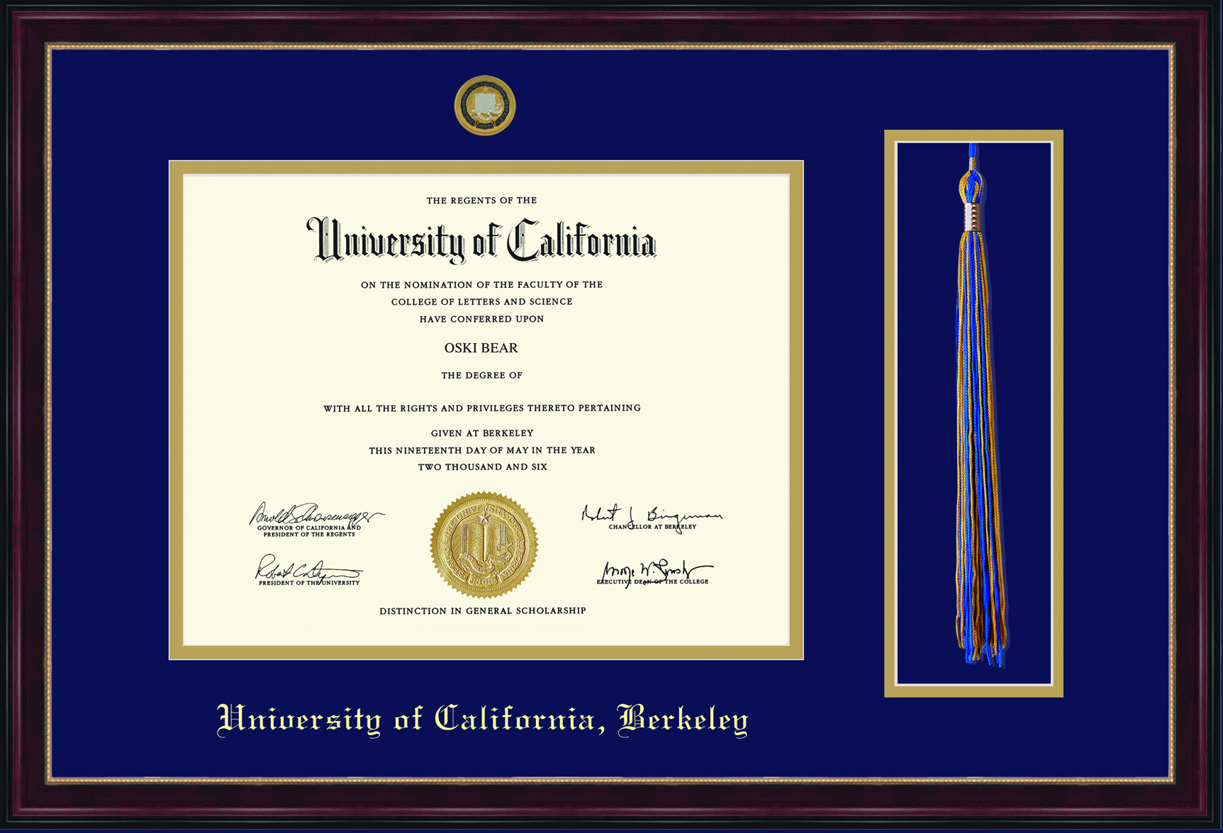 University of California Berkeley Sienna Tassel Diploma Frame