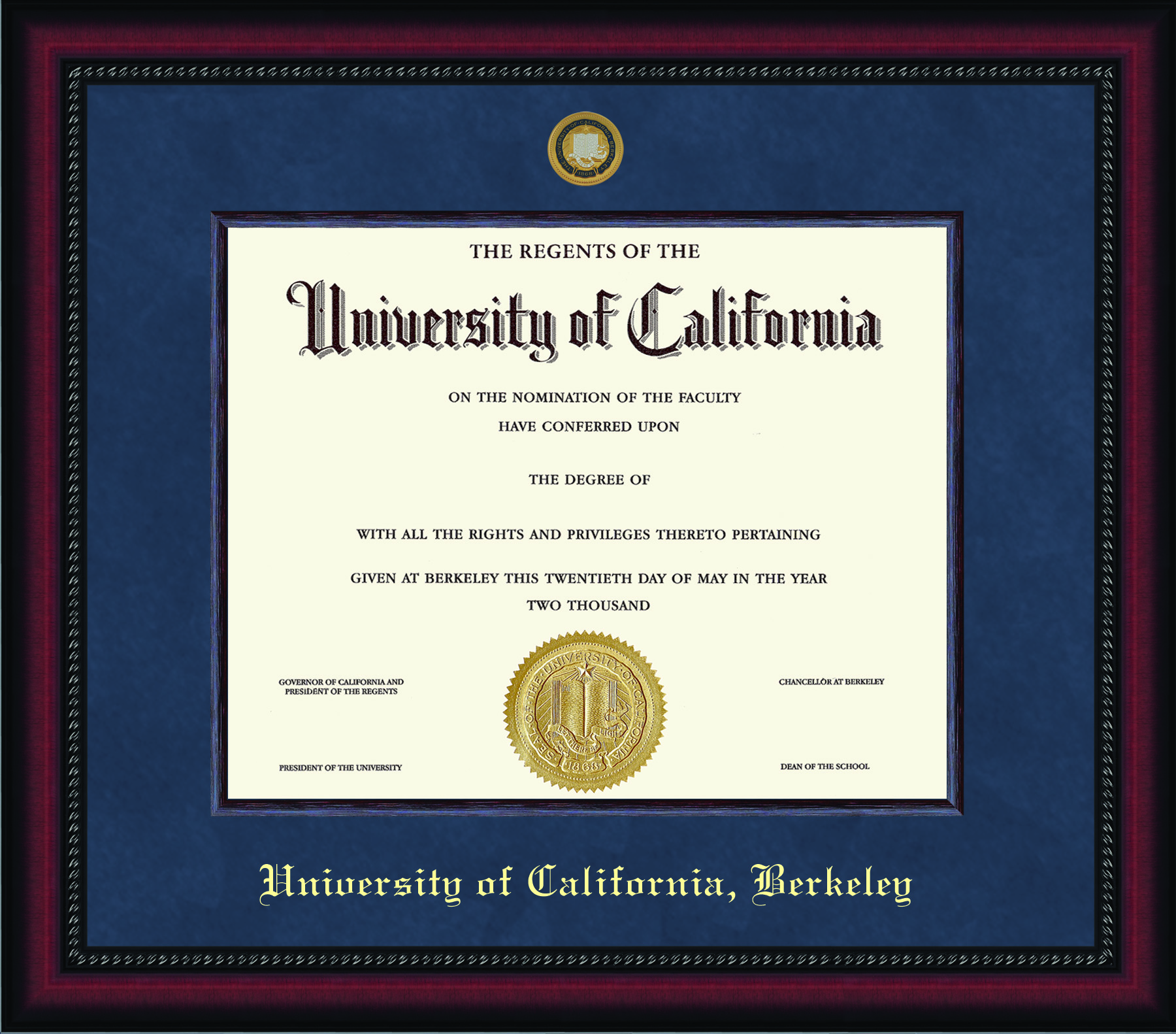 University of California Berkeley Legacy Diploma Frame