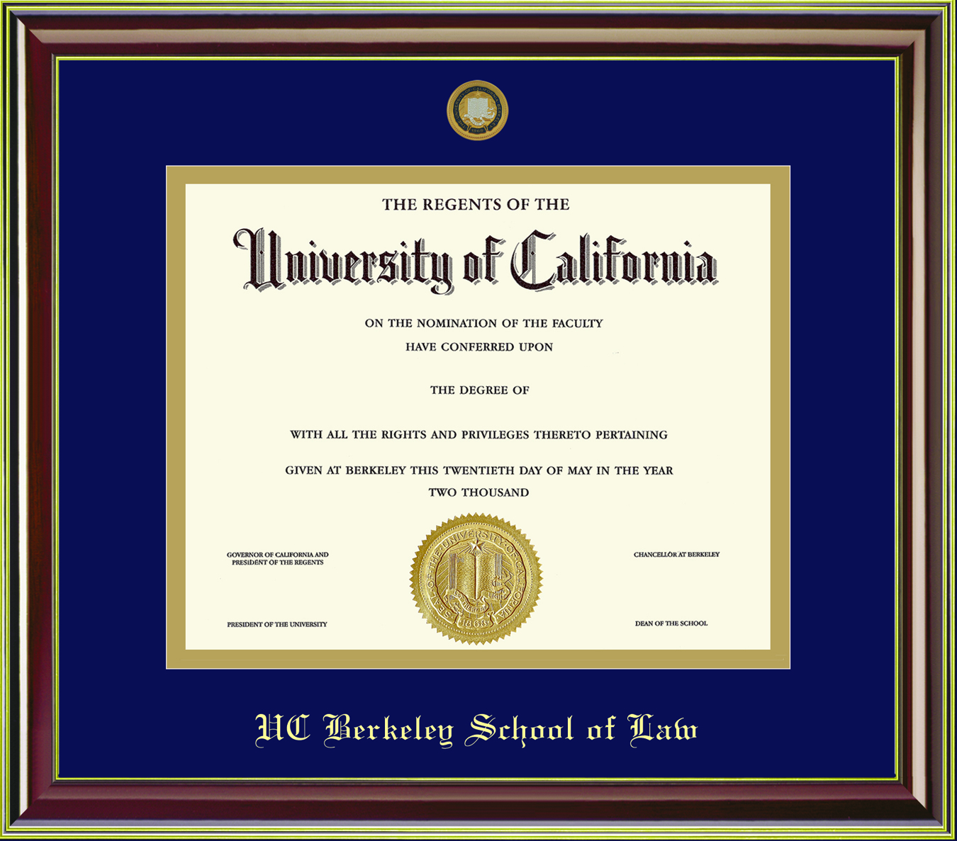 University of California Berkeley Mahogany Gold 11x14 School of Law Diploma Frame