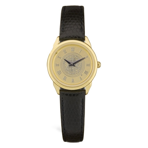 University of California Berkeley Women's Wrist Watch Black Leather Strap